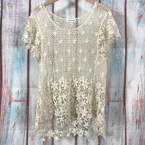 💎 Roommates Lace Blouse Shell Cream Size M
